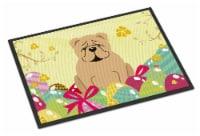 Easter Eggs English Bulldog Fawn Indoor or Outdoor Mat 18x27 - 18Hx27W