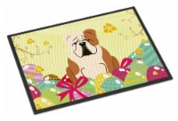 Easter Eggs English Bulldog Fawn White Indoor or Outdoor Mat 18x27