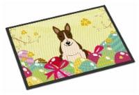 Easter Eggs Bull Terrier Dark Brindle Indoor or Outdoor Mat 18x27