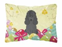 Easter Eggs Poodle Black Canvas Fabric Decorative Pillow