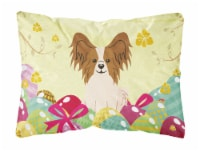 Easter Eggs Papillon Red White Canvas Fabric Decorative Pillow - 12Hx16W