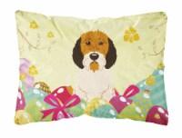 Easter Eggs Petit Basset Griffon Veenden Canvas Fabric Decorative Pillow - 12Hx16W