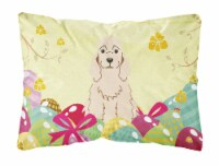 Easter Eggs Cocker Spaniel Buff Canvas Fabric Decorative Pillow