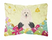 Easter Eggs Old English Sheepdog Canvas Fabric Decorative Pillow