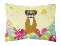 Easter Eggs Flashy Fawn Boxer Canvas Fabric Decorative Pillow - 12Hx16W