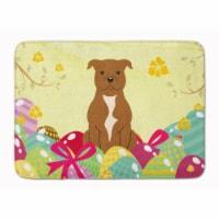 "Easter Eggs Staffordshire Bull Terrier Brown Machine Washable Memory Foam Mat - 19 X 27"""