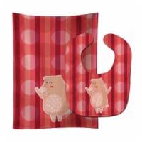 Carolines Treasures  BB6742STBU Dancing Pig Baby Bib & Burp Cloth - 1