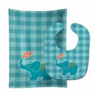 Carolines Treasures  BB6744STBU Elephant Love Baby Bib & Burp Cloth - 1