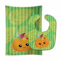 Carolines Treasures  BB6796STBU Pumpkin Fall Baby Bib & Burp Cloth - 1