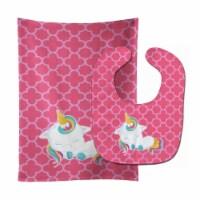 Carolines Treasures  BB6811STBU Quatrafoil Pink Unicorn Baby Bib & Burp Cloth