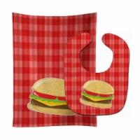 Carolines Treasures  BB6812STBU Hamburger Plaid Baby Bib & Burp Cloth - 1