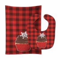 Carolines Treasures  BB6817STBU Christmas Cupcake Baby Bib & Burp Cloth