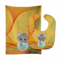 Carolines Treasures  BB6879STBU Kitten in the Fish Bowl Baby Bib & Burp Cloth