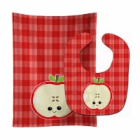 Carolines Treasures  BB6983STBU Apple Face Baby Bib & Burp Cloth - 1