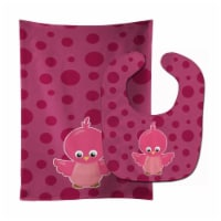 Carolines Treasures  BB7014STBU Bird on Pink Polkadots Baby Bib & Burp Cloth