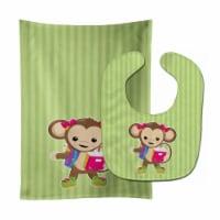 Carolines Treasures  BB7016STBU Monkey Going to School Baby Bib & Burp Cloth