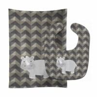 Carolines Treasures  BB7033STBU Rhinoceros Baby Bib & Burp Cloth - 1