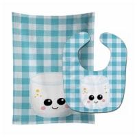 Carolines Treasures  BB7056STBU Marshmellow Face Baby Bib & Burp Cloth