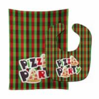 Carolines Treasures  BB7059STBU Pizza Party Baby Bib & Burp Cloth - 1