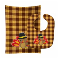 Carolines Treasures  BB7114STBU Thanksgiving Turkey Wink Baby Bib & Burp Cloth - 1