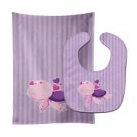 Carolines Treasures  BB7133STBU Pink and Purple Turtle Baby Bib & Burp Cloth - 1