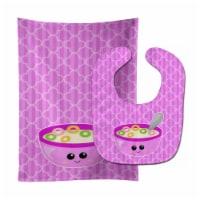 Carolines Treasures  BB7163STBU Pink Bowl of Cereal Baby Bib & Burp Cloth - 1