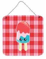Ice Pop Popsicle Face Gingham Wall or Door Hanging Prints