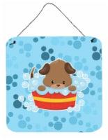 Carolines Treasures  BB7077DS66 Puppy taking a bath Wall or Door Hanging Prints - 6HX6W