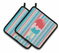 Ice Pop Popsicle Red Pink Blue Pair of Pot Holders