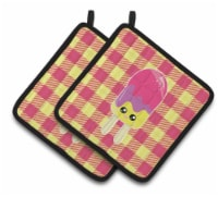 Ice Pop Popsicle Face Gingham Pair of Pot Holders
