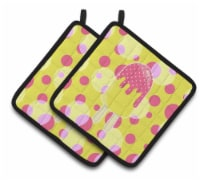 Carolines Treasures  BB7070PTHD Ice Pop Popsicle Pink Yellow Pair of Pot Holders