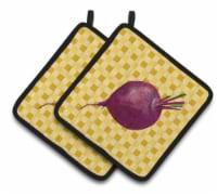 Carolines Treasures  BB7185PTHD Beet Root on Basketweave Pair of Pot Holders - Standard