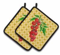 Carolines Treasures  BB7194PTHD Cherry Tomato on Basketweave Pair of Pot Holders - Standard