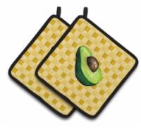 Sliced Avacado on Basketweave Pair of Pot Holders - Standard