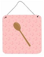 Carolines Treasures  BB7270DS66 Wooden Spoon Pink Wall or Door Hanging Prints - 6HX6W