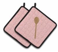 Carolines Treasures  BB7270PTHD Wooden Spoon Pink Pair of Pot Holders - Standard