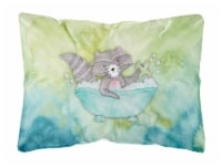 Raccoon Bathing Watercolor Canvas Fabric Decorative Pillow
