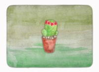 "Cactus Green Watercolor Machine Washable Memory Foam Mat - 19 X 27"""