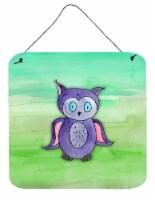 Purple Owl Watercolor Wall or Door Hanging Prints - 6HX6W