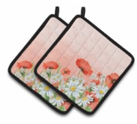 Carolines Treasures  BB7448PTHD Poppies and Chamomiles Pair of Pot Holders - Standard