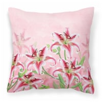 Carolines Treasures  BB7446PW1818 Pink Lillies Fabric Decorative Pillow