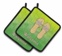 Carolines Treasures  BB7454PTHD Flip Flops Welcome Pair of Pot Holders - Standard