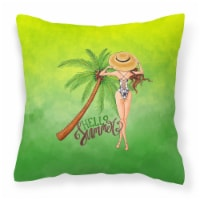 Hello Summer Lady in Swimsuit Fabric Decorative Pillow