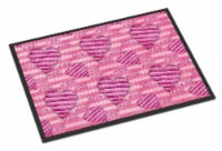 Watercolor Hot Pink Striped Hearts Indoor or Outdoor Mat 24x36