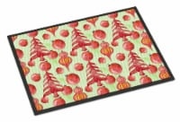 Red Christmas Tree and Ornaments Indoor or Outdoor Mat 18x27 - 18Hx27W