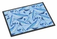 Watercolor Nautical Whales Indoor or Outdoor Mat 18x27