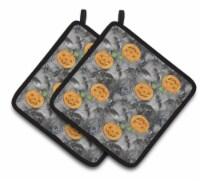 Watecolor Halloween Jack-O-Lantern Bats Pair of Pot Holders - Standard