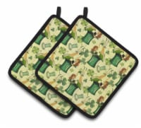 Watercolor St Patrick's Day Party Pair of Pot Holders - Standard