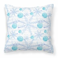 Winter Snowflakes on White Fabric Decorative Pillow
