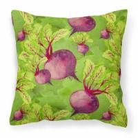 Carolines Treasures  BB7574PW1414 Watercolor Raddishes Fabric Decorative Pillow - 14Hx14W